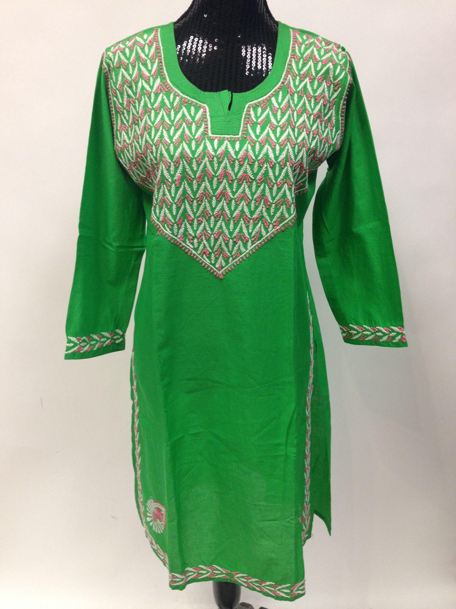 Lucknowi chikankari long kurti green ethnic indian dress