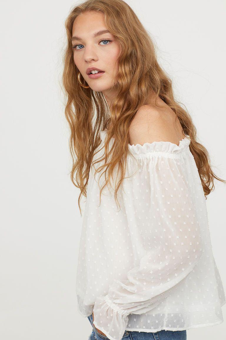26882d2535b Off-the-shoulder Blouse | Tops | Blouse, Off shoulder blouse, Off ...