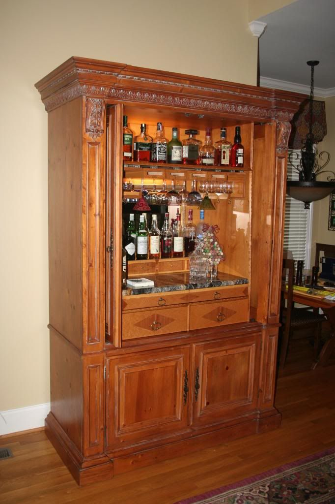 Repurposed entertainment center as a bar www chefbrandy for Entertainment armoire