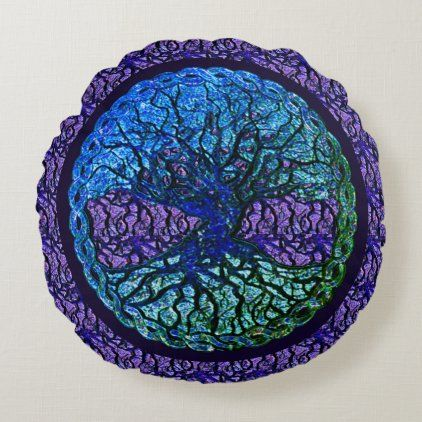 Green and Purple Tree of Life Round Pillow