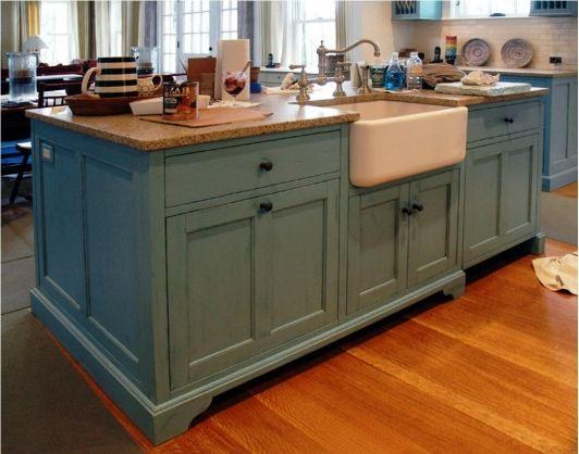 Rustic Blue Kitchen Island With Farmhouse Sink Farmhouse Kitchen