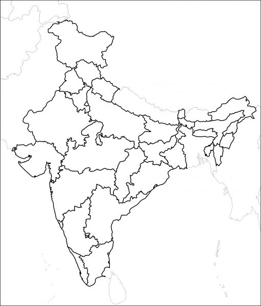 Indian Political Map Outline Outline | Self in 2019 | India map, Map, Map outline