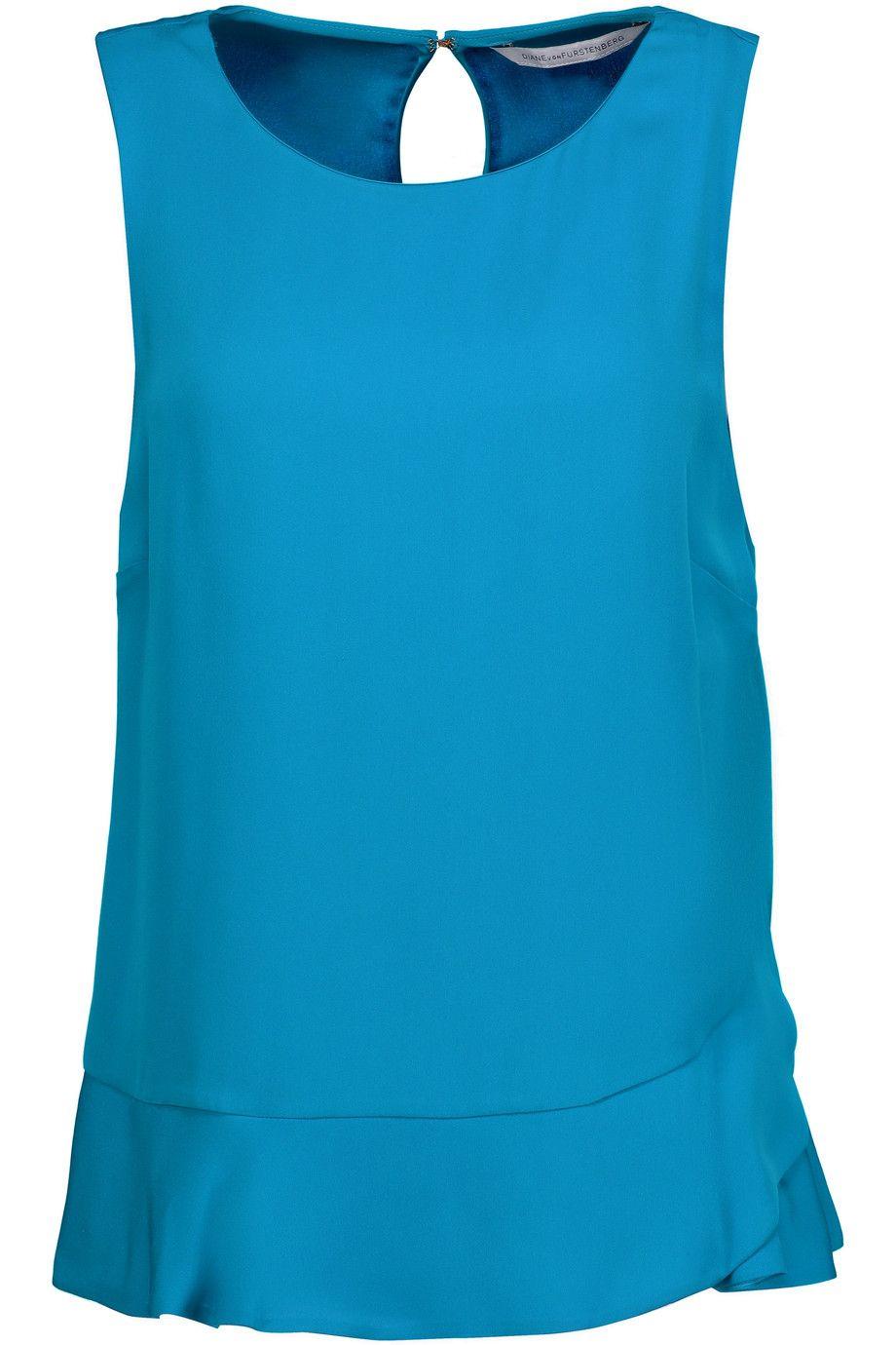 DIANE VON FURSTENBERG Deon Asymmetric Silk Top. #dianevonfurstenberg #cloth #top
