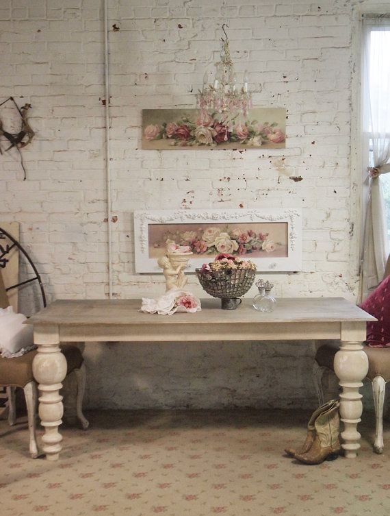 Painted Cottage Chic Shabby French Linen Dining Table Tbl30 Alluring Shabby Chic Dining Room Decorating Inspiration