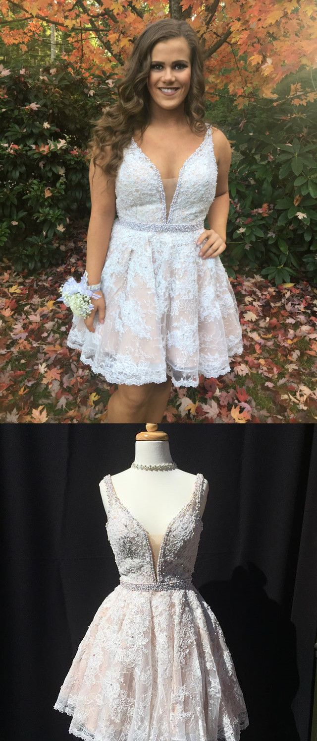 Cute aline white lace short prom dress homecoming dress lace