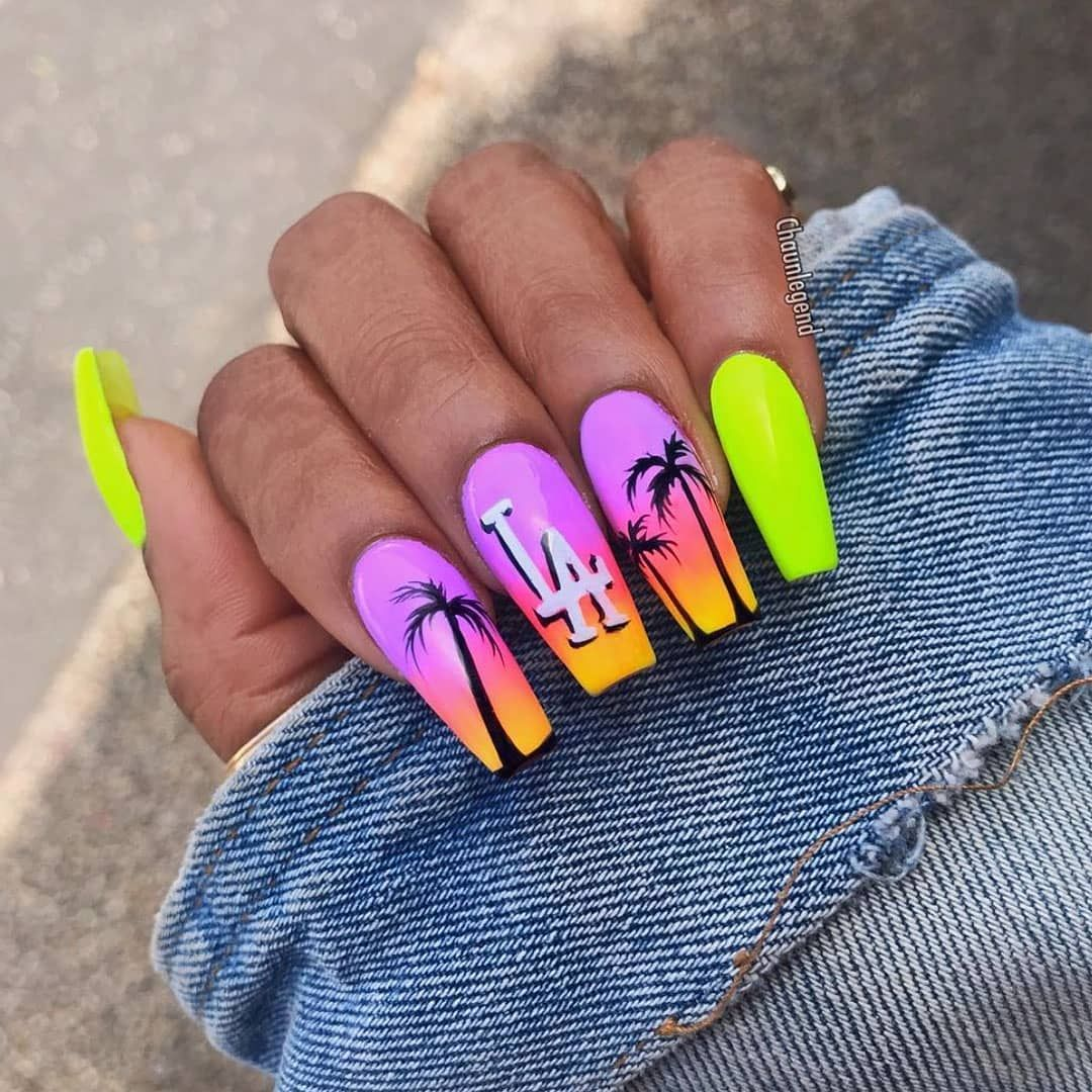 That Feeling When You Get A Fresh Set We Re Obsessed With These La Vibes Chaunlegend Isawitfirst Com Best Acrylic Nails Swag Nails Gel Nails