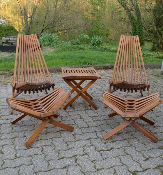 Retro Kentucky Stick Chairs, Footstools and Table | saime ...