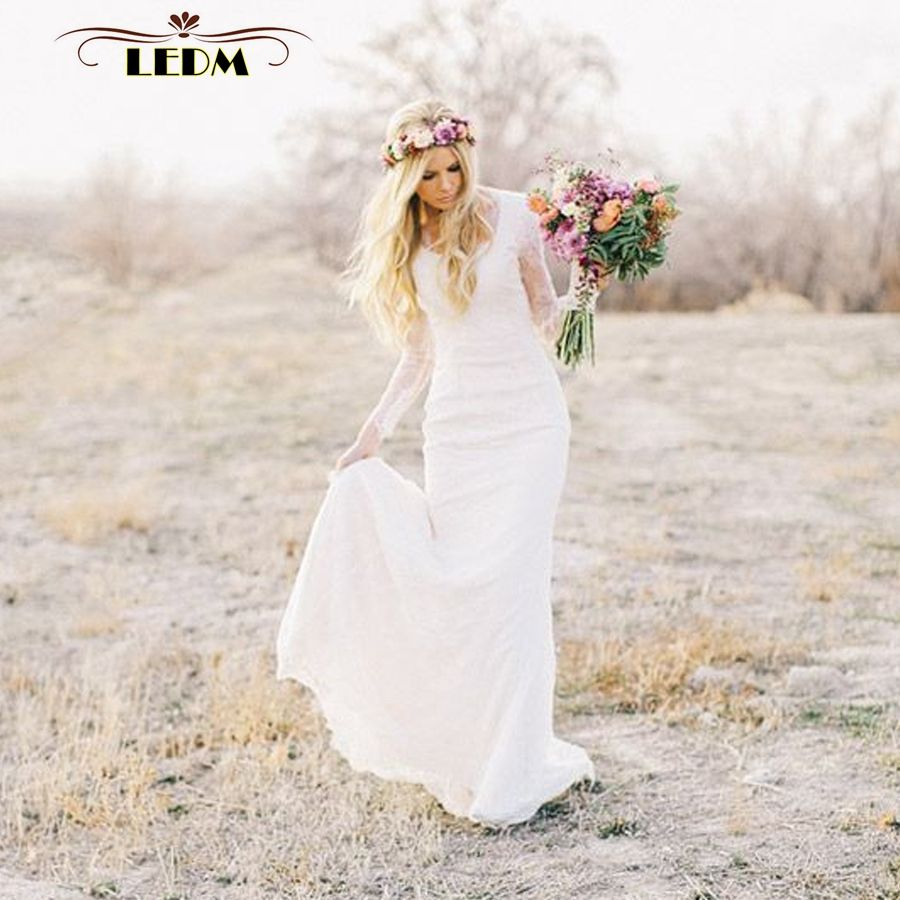 Click to buy ucuc beach boho bridal wedding gowns sheath vestido