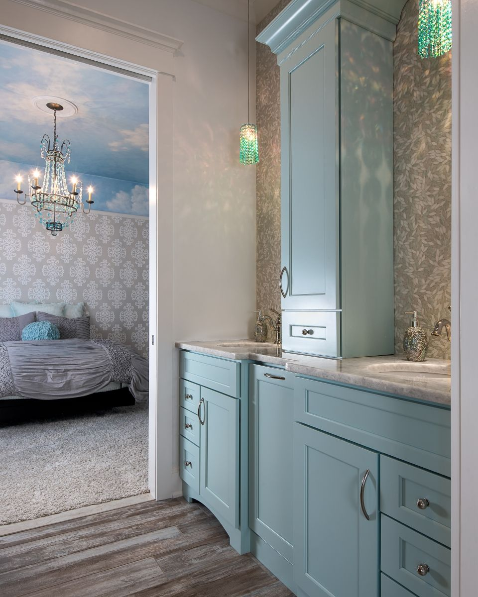 Light blue and white bathroom - Dura Supreme Master Bath With Light Blue Cabinets Shabby Chic Styling Ornate Wallpaper