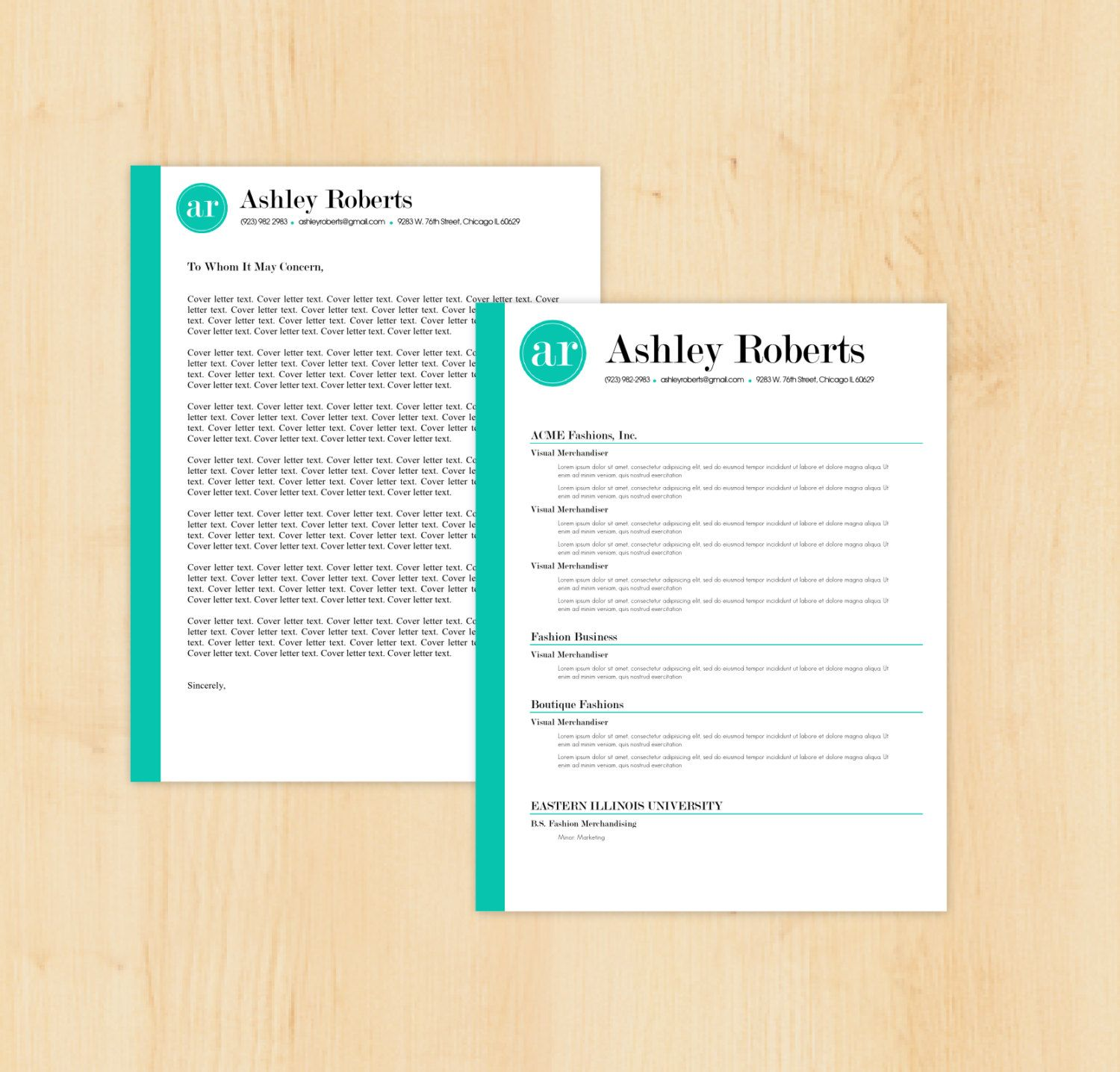 Resume Template / Cover Letter Template The Ashley by