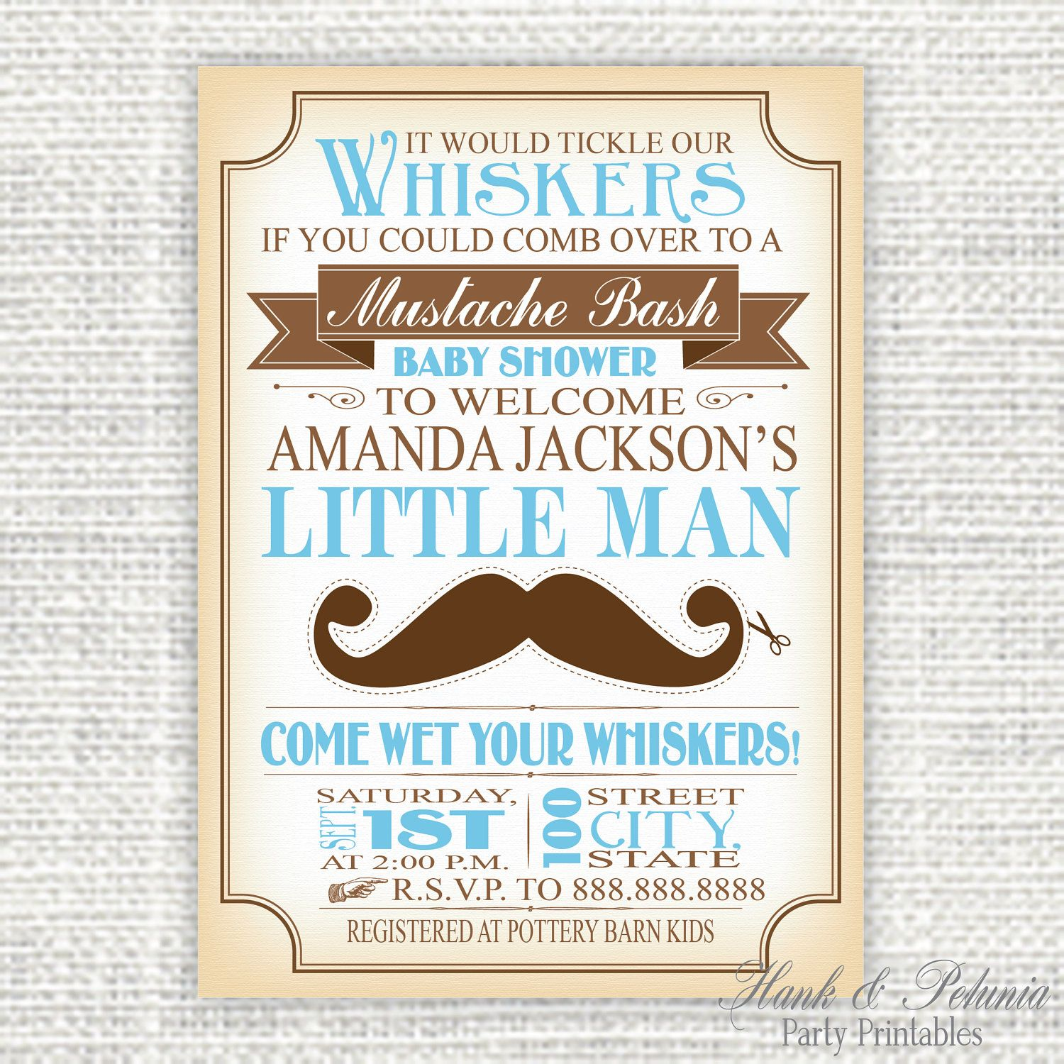 Vintage Inspired Printable Diy Mustache Baby Shower Invitation 10 00 Via Etsy