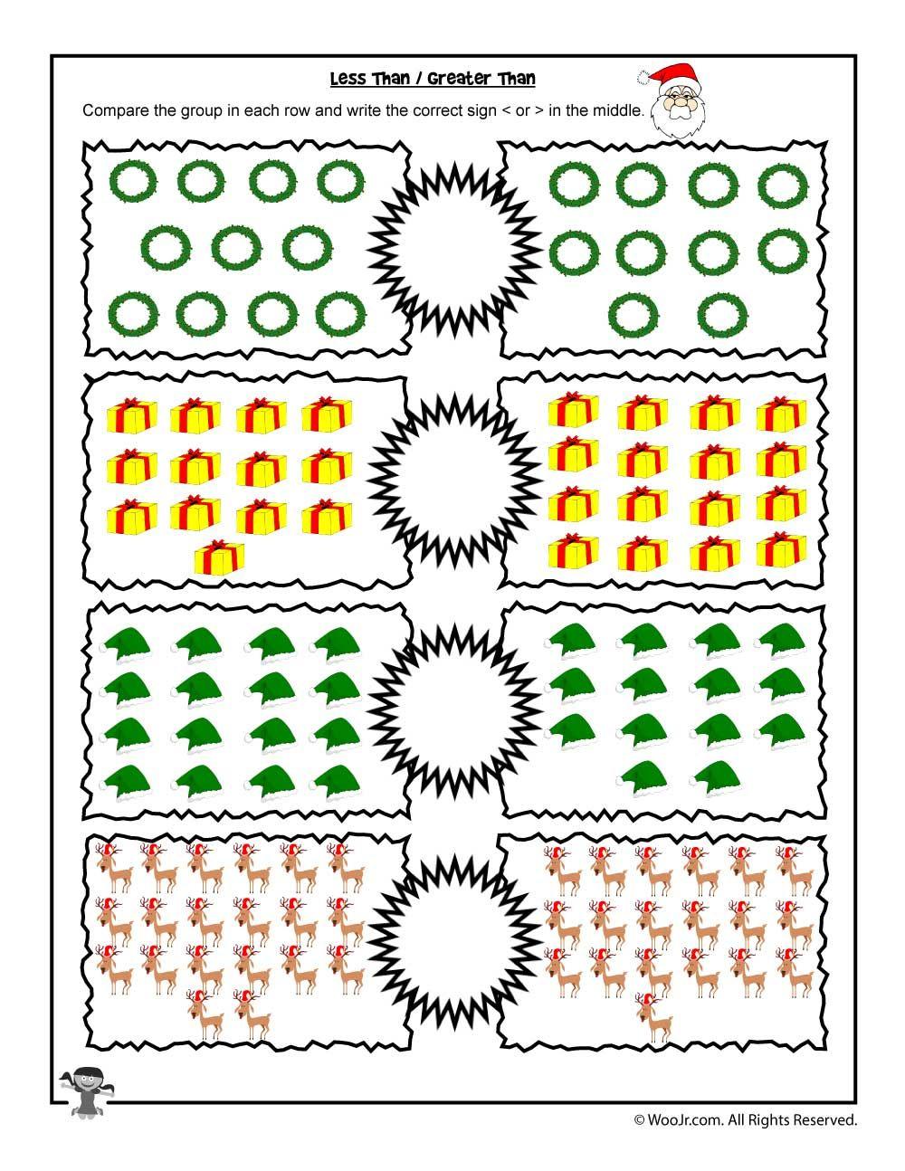 Easy 1 - 20 Greater Than, Less Than Worksheet | Christmas math ...