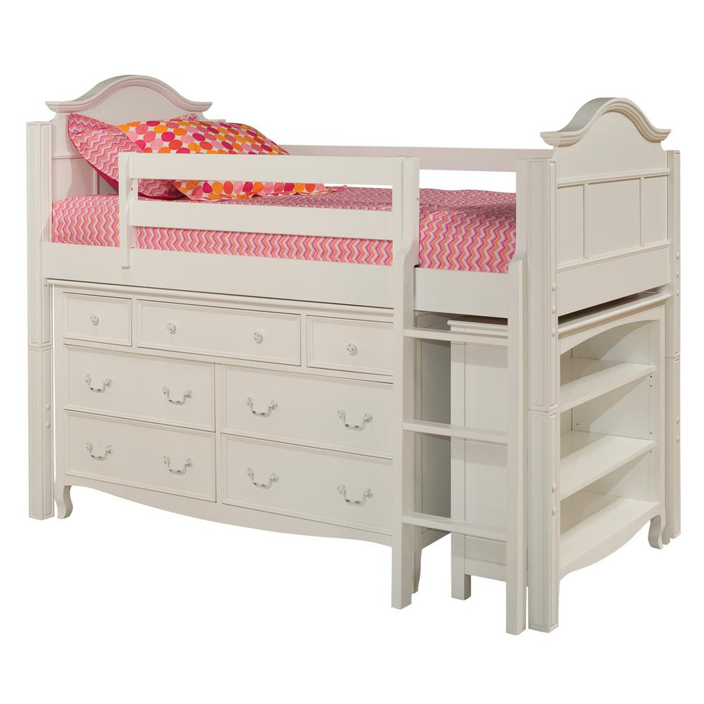 Corner twin loft bed  Bolton Furniture Emma White Twin Low Loft Storage Bed with Drawer