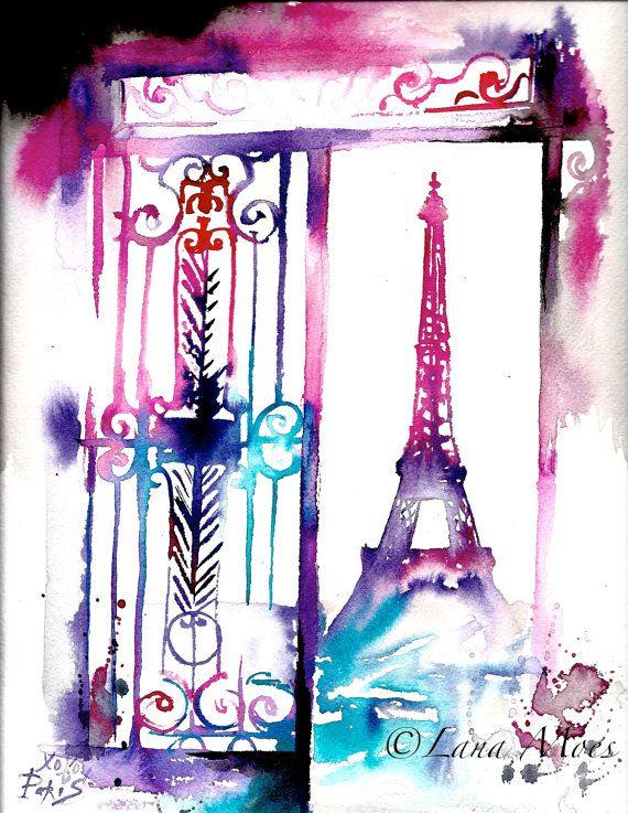 """Paris Travel Watercolor Illustration Original by Lana Moes titled """"Paris Forever"""" #Paris, #watercolor, #Paris illustration"""