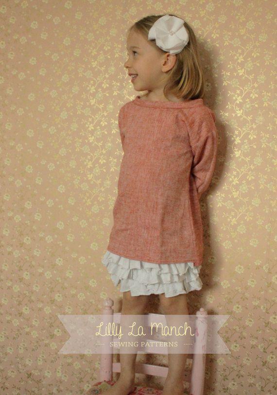 PDF Sewing pattern - Boho toddler girl dress - long sleeve summer