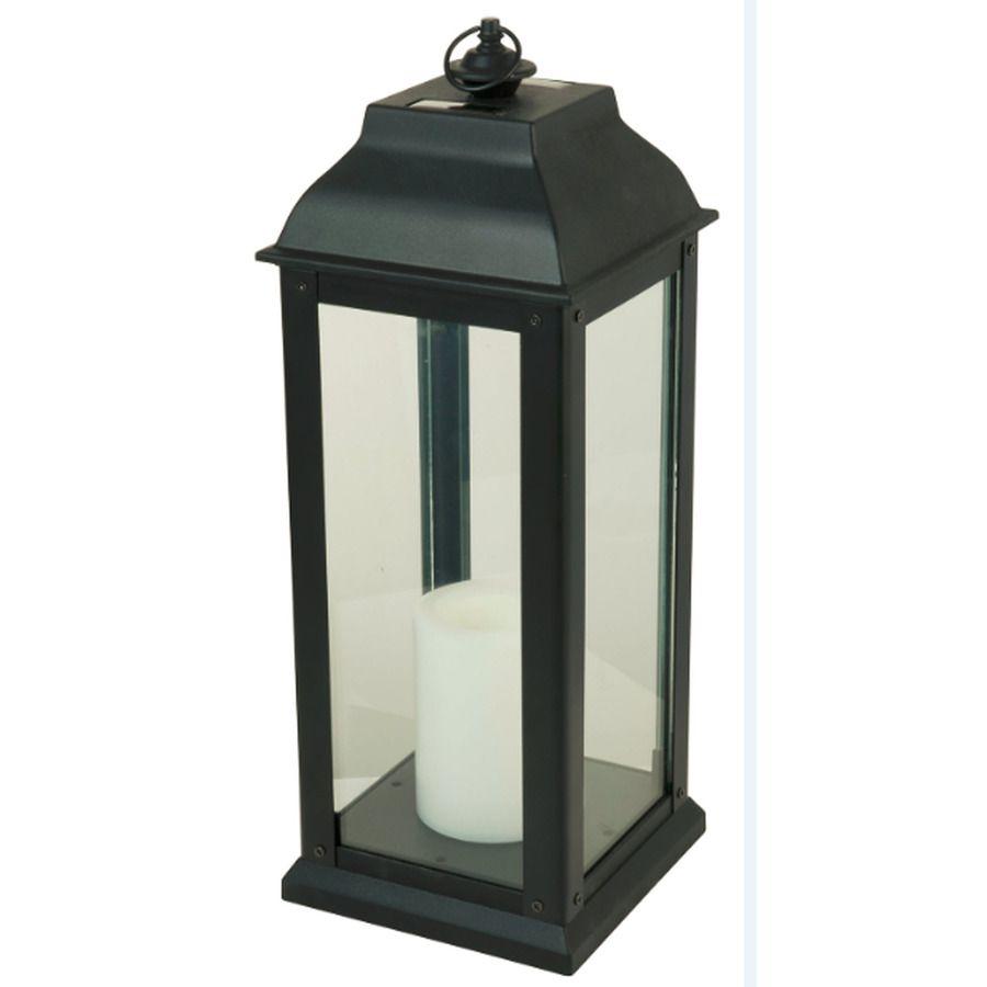 5 94 In X 16 In Black Glass Solar Outdoor Decorative Lantern Outdoor Decorative Lanterns Solar Lanterns Lanterns Decor