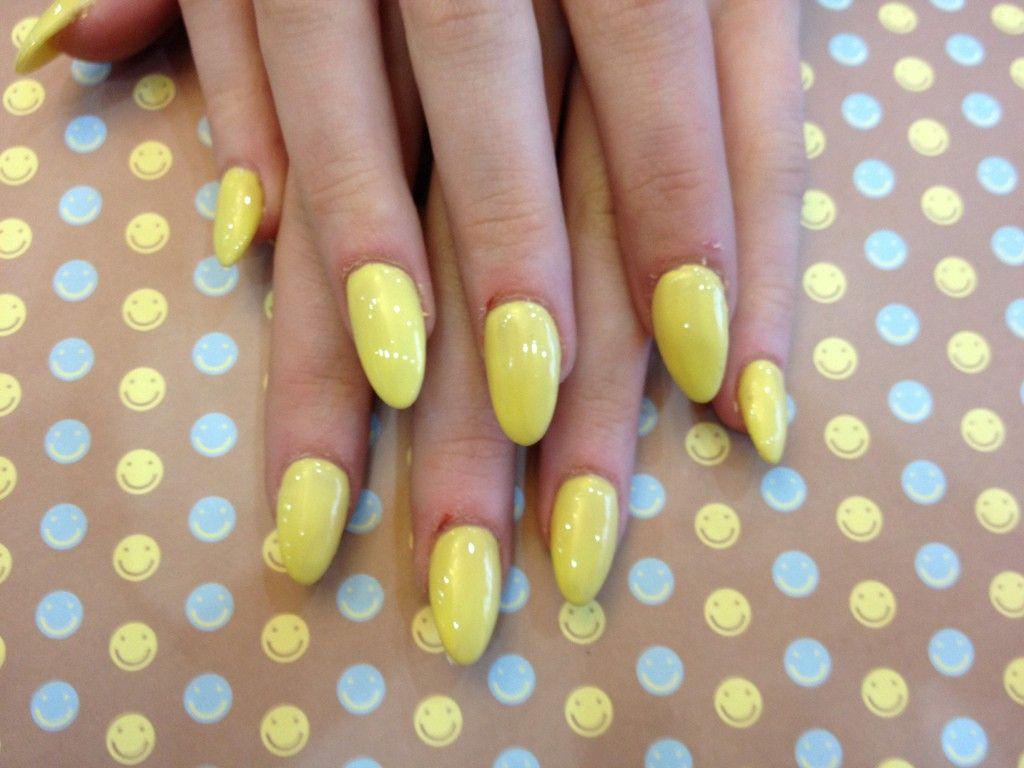 Almond-shape-nails-yellow-gel-polish | Nail Art | Pinterest | Almond ...