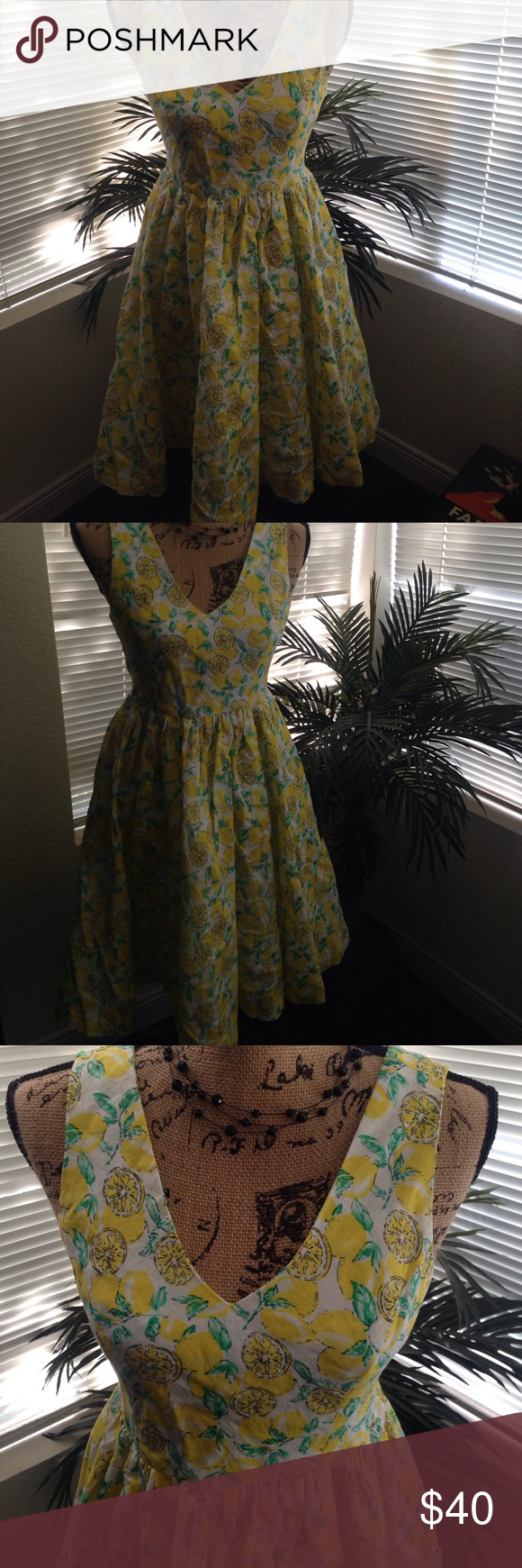 Lemon Print Dapper Day Dress Vintage inspired lemon print dress. Brand new. Never worn. Bought at Dapper Day Disney Expo. Perfect for Dapper Day or all Spring occasions. Fits an Small. Dresses