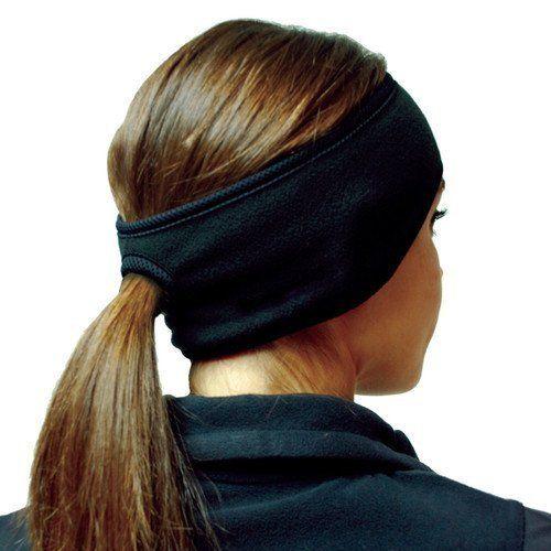 Women Black Fleece Ponytail Headband Ski Ear Warmer For Cycling Snowboarding