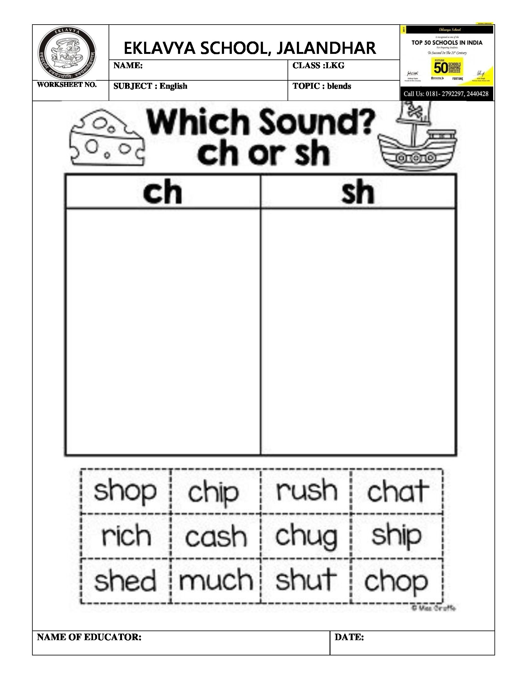 Worksheet On Blends