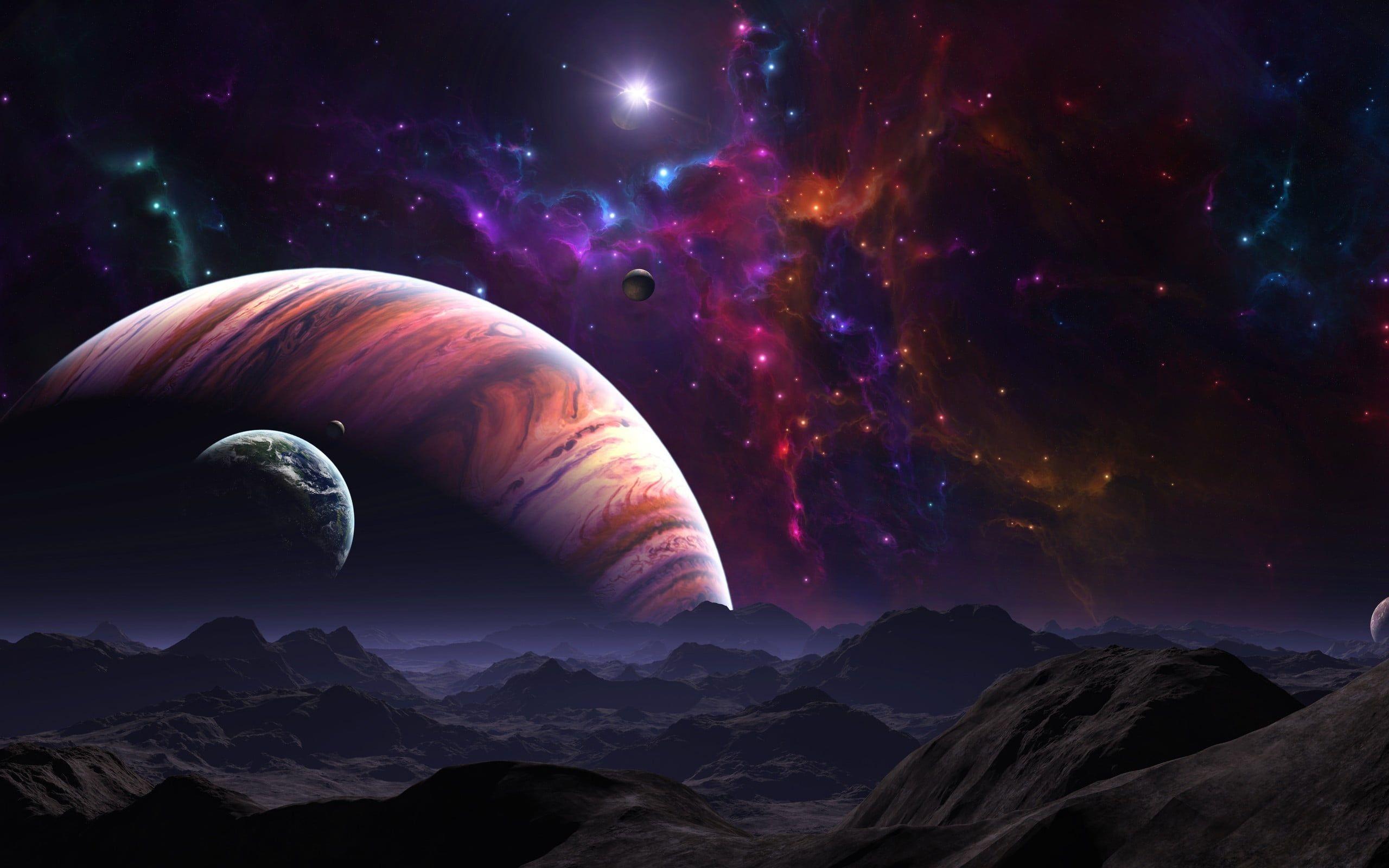 Wallpaper Universe And Planet Wallpaper Landscape Science Fiction Fantasy Art Planets Wallpaper Wallpaper Space Landscape Wallpaper