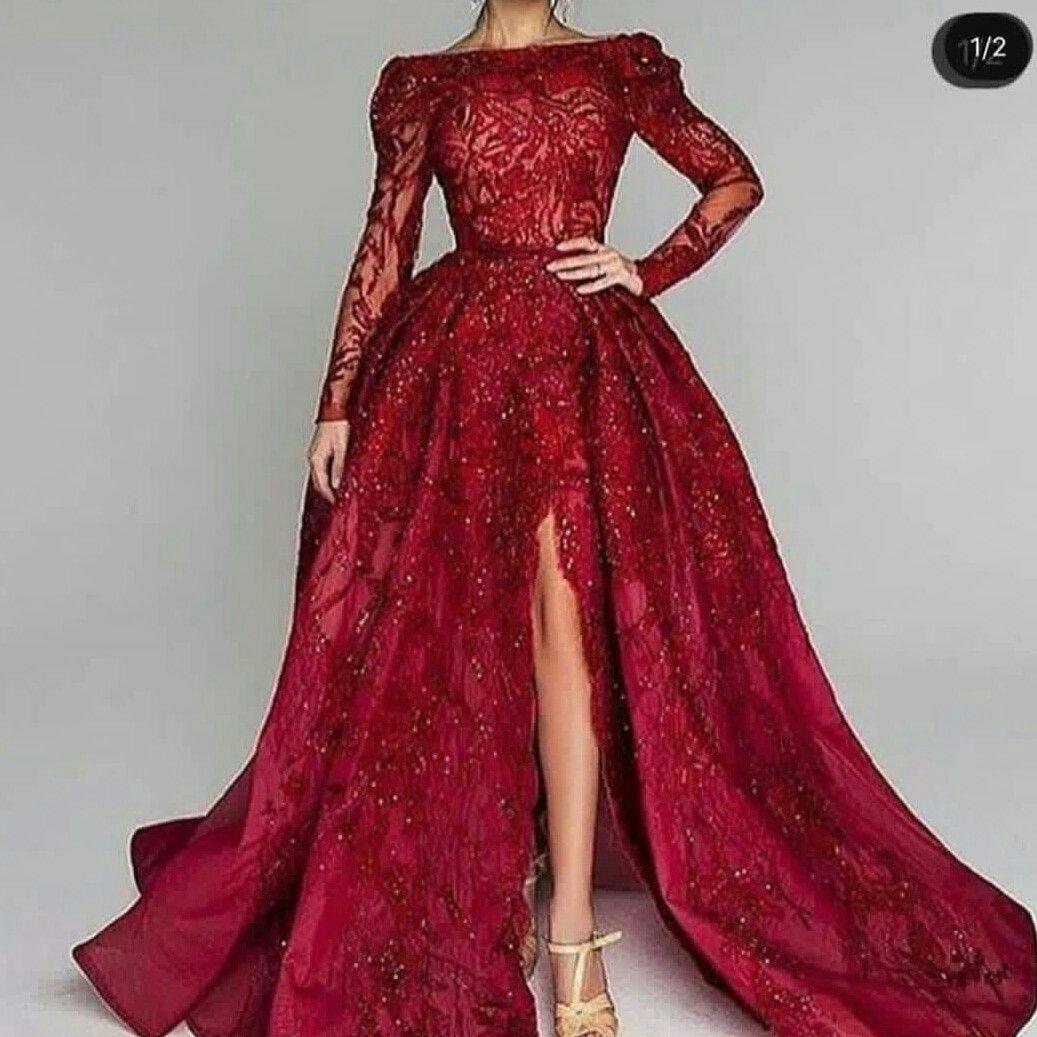متجر توفا تفصيل اجمل فساتين الزفاف والسهرة المميزة والمختلفة والسعر مناسب جدا للطل Red Prom Dress Long Evening Dresses With Sleeves Long Sleeve Prom Dress Lace