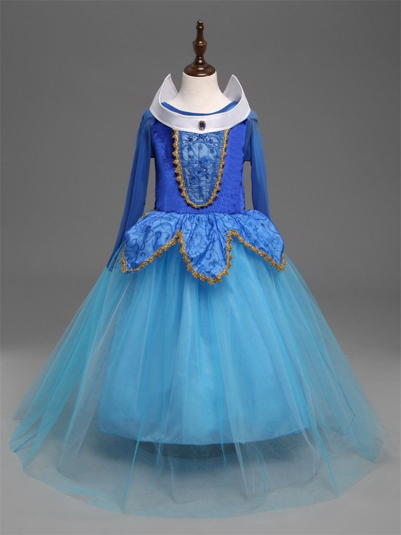 Fantasy Kids Blue Sleeping Beauty Cosplay Costume Disney Princess ...