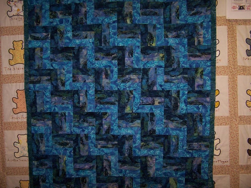 Quinn's 3 Rail Fence Post  - baby quilt 2014 made with Alaska fish fabrics