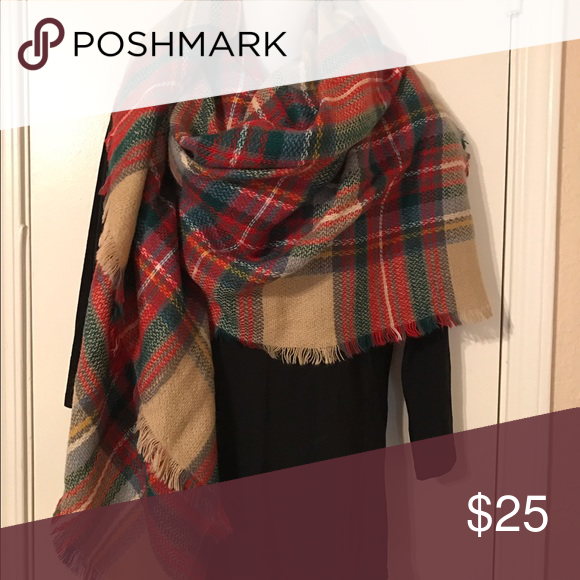 NWOT Plaid Blanket Scarf NWOT Plaid Blanket Scarf. I bought one for myself then also received one as a gift. I obviously love it but only need one :)   💲💲MAKE AN OFFER 💲💲 ❌NO Trades❌ Accessories Scarves & Wraps