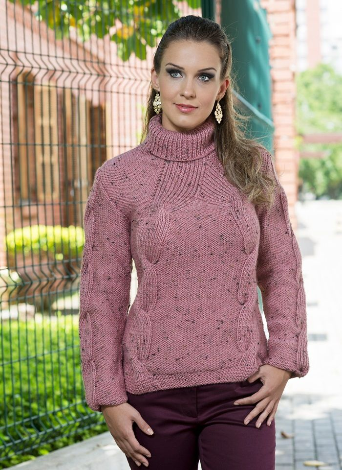 836a5ff04 Maglione con trecce di punto coste | turtlenecks | Knitting ...
