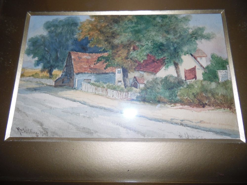 VINTAGE R.T.WILDING COUNTRY COTTAGE SCENE WATER COLOUR SIGNED AND DATED 1929
