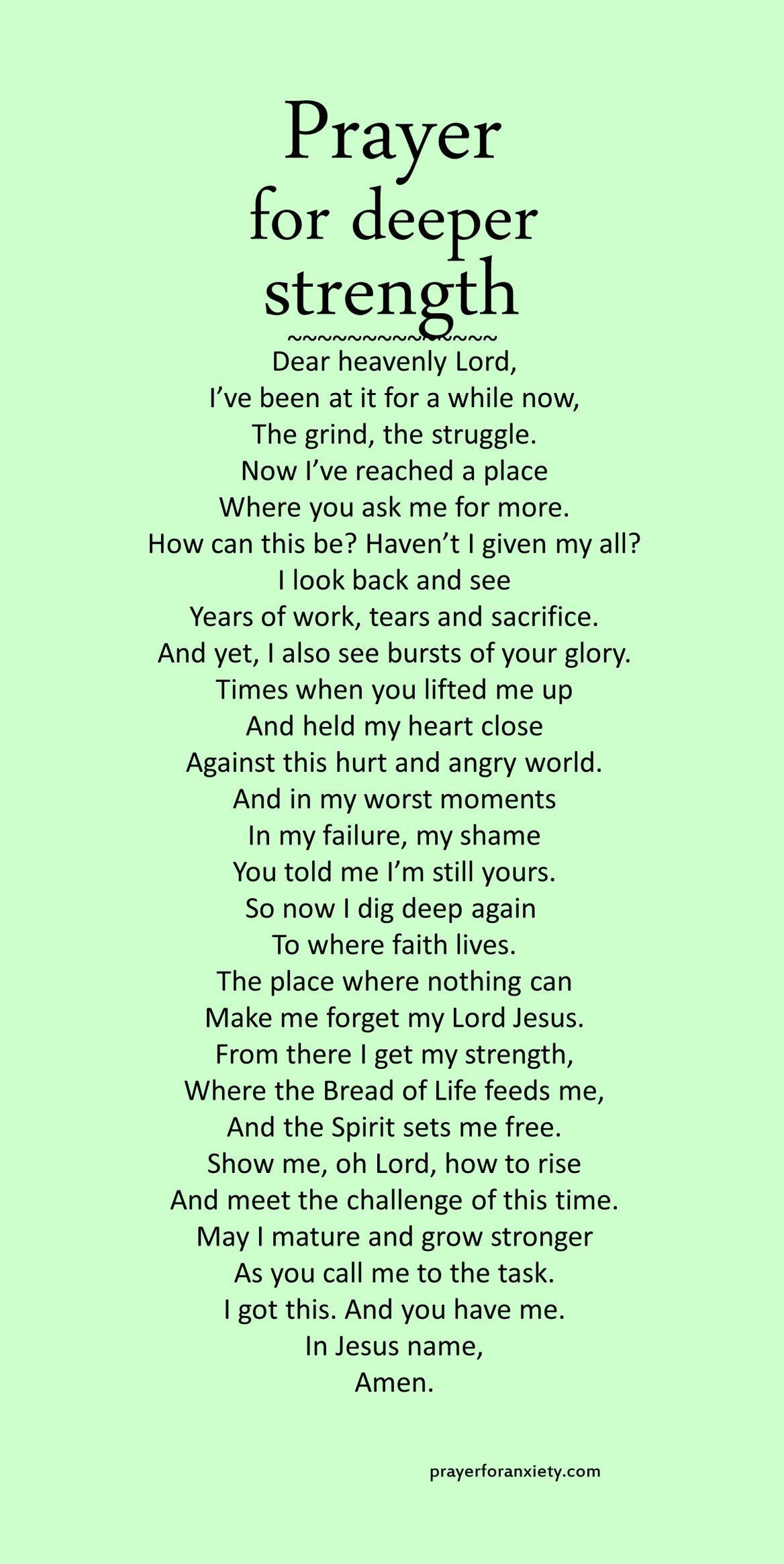 Prayer for deeper strength
