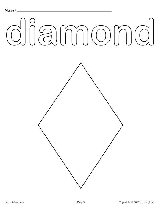 Free Printable Diamond Coloring Page Shape Coloring Pages Shapes Lessons Shapes Preschool