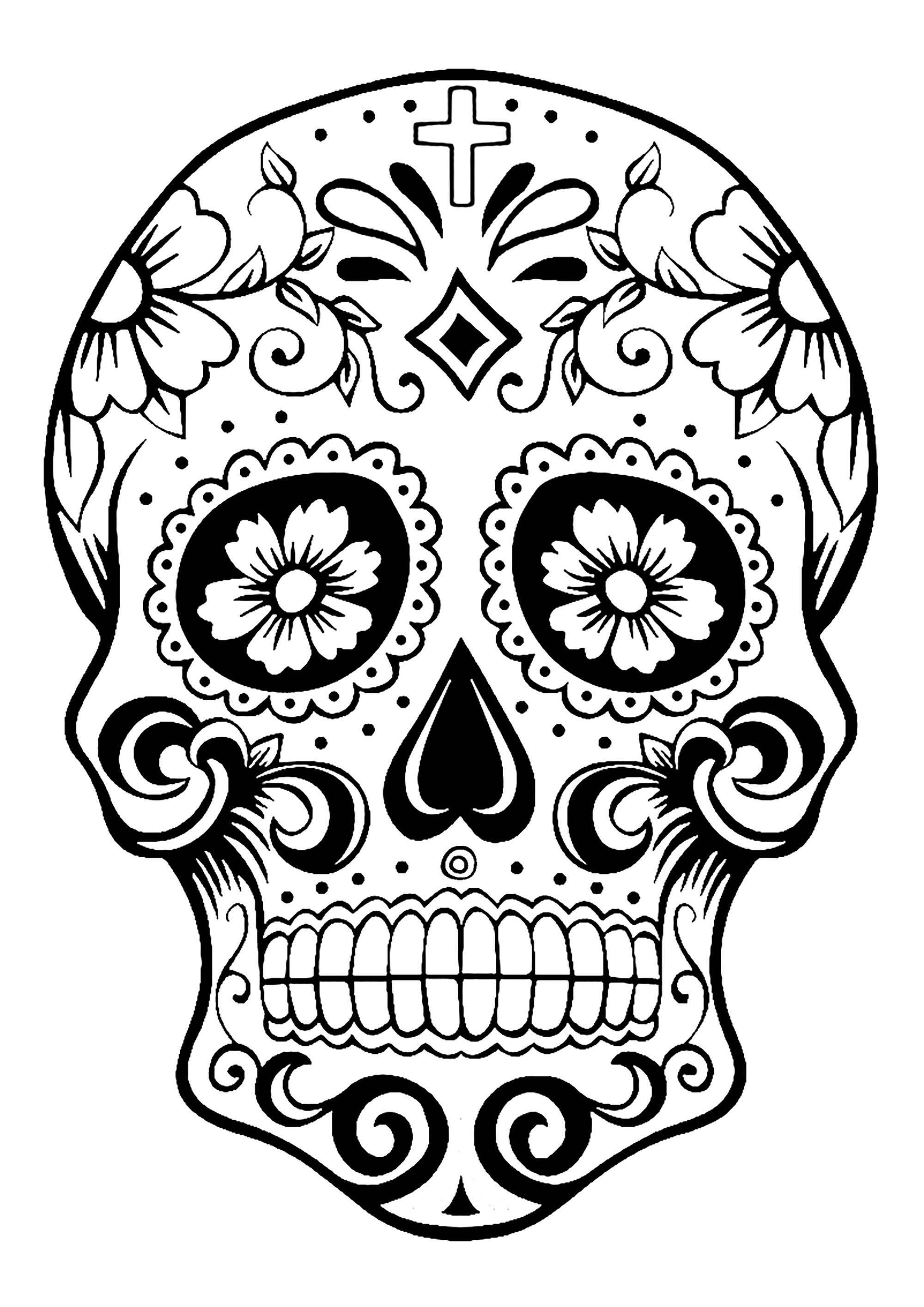 El Dia De Los Muertos Day Of The Dead Coloring Page Skull 2