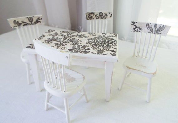 Wooden Paris White Miniature Dining Table Chairs This Set