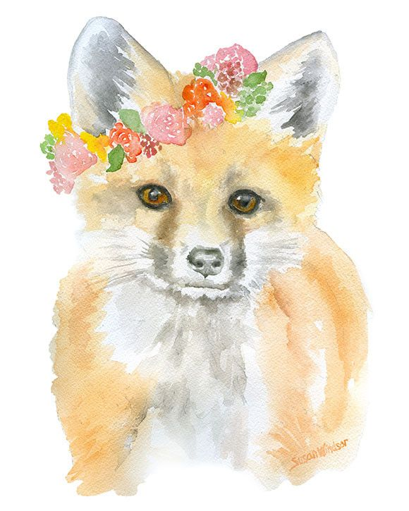 Fox with Flowers watercolor giclée reproduction. Portrait/vertical orientation. Printed on fine art paper using archival pigment inks. This quality printing all