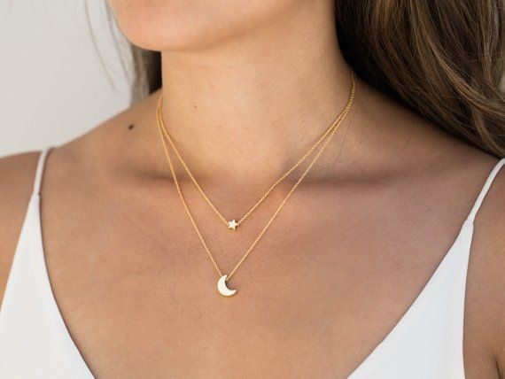 Gold Moon Star Necklace / Dainty Star Necklace / Gold Moon Necklace / Moon Star Layering Necklace / Bridesmaid Necklace / Celestial Necklace