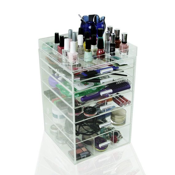 Acrylic Makeup Organizer 6 Drawers Clear Cosmetic por Houseables