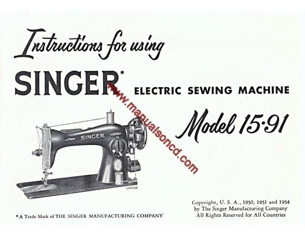 Singer 1591 Sewing Machine Instruction Manual Covers model - instruction manual