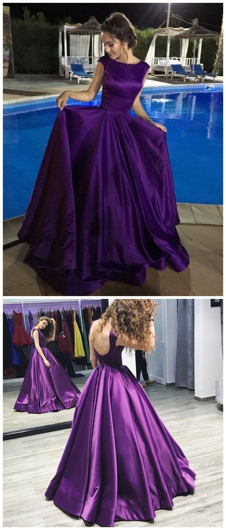 Aline bateau long purple satin prom dresses cheap prom dresses