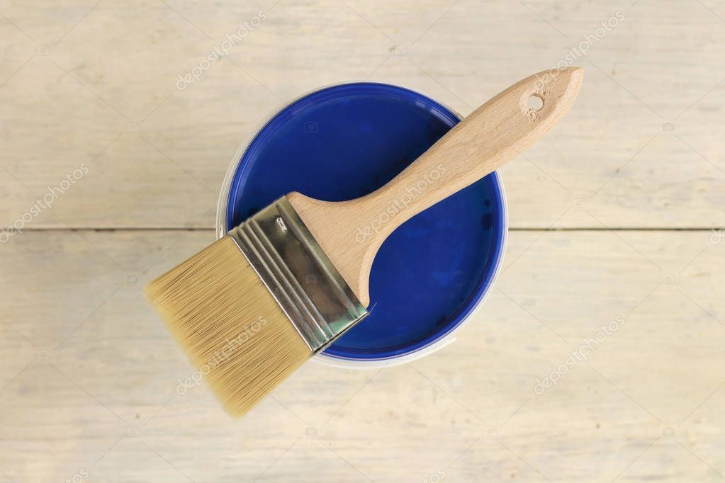 A Paint Brush Is Lying On The Blue Lid Of A Plastic Paint Bucket On An Old White Sponsored Lying Blue Paint Bru Paint Buckets Paint Brushes Painting