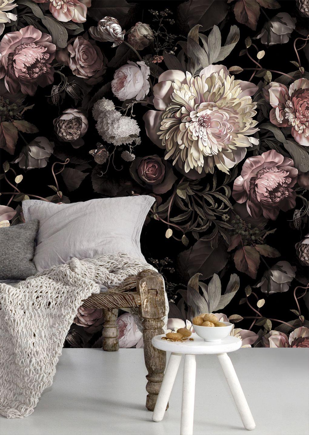 Black floral print wallpaper dark floral wallpaper by ellie cashman - House