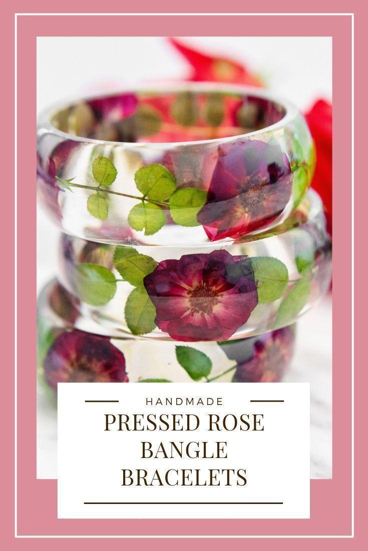 Pressed Flower Resin Bangle Bracelet Red Roses by Floral Neverland  Real Pressed Flower Floral Resin Bangle Bracelet Red Roses This stunning bangle bracelet features