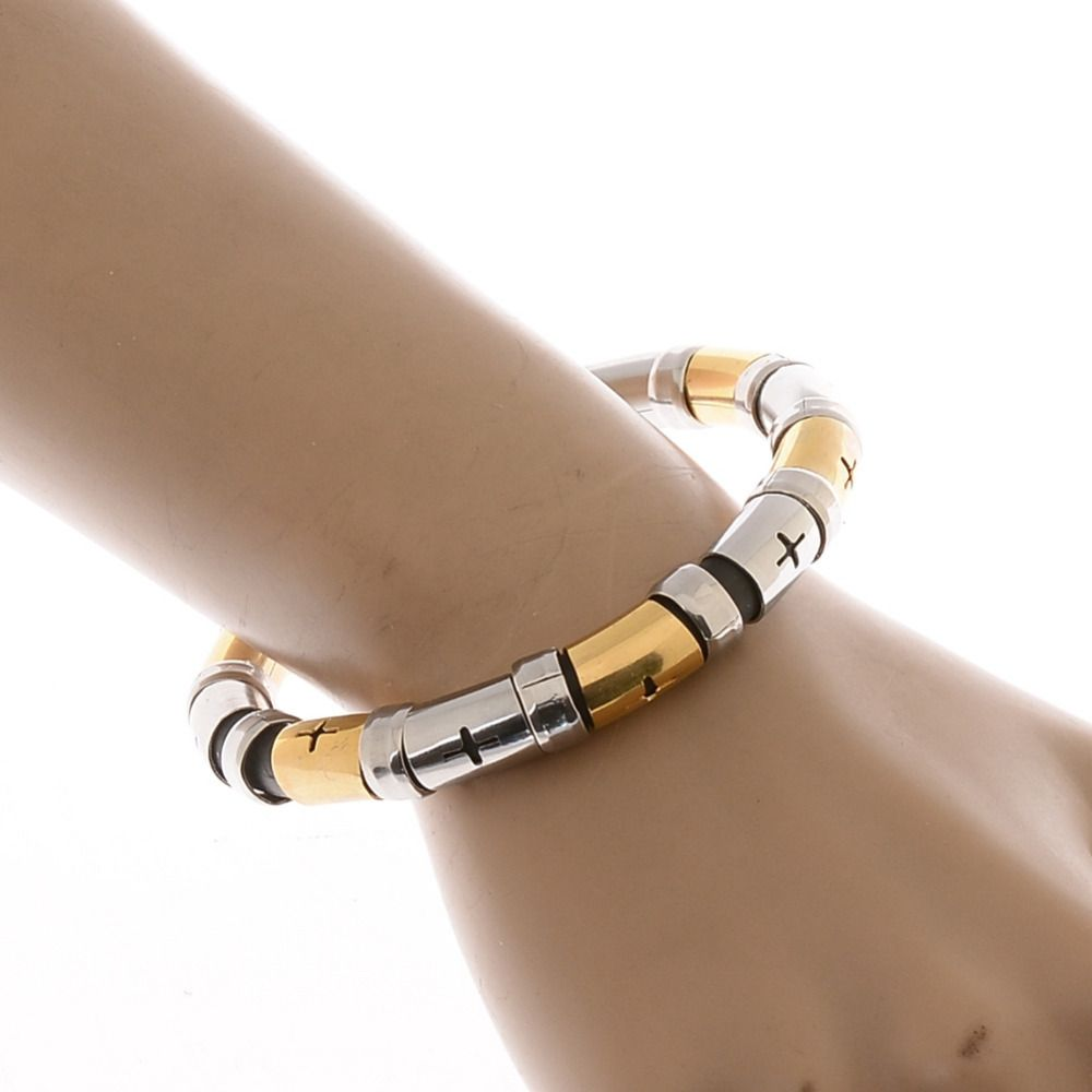 Click to buy ucuc punk unisex stainless steel cross beads rubber