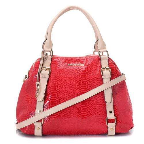 MICHAEL Michael Kors Bedford Extra Large Bowling Satchel Red