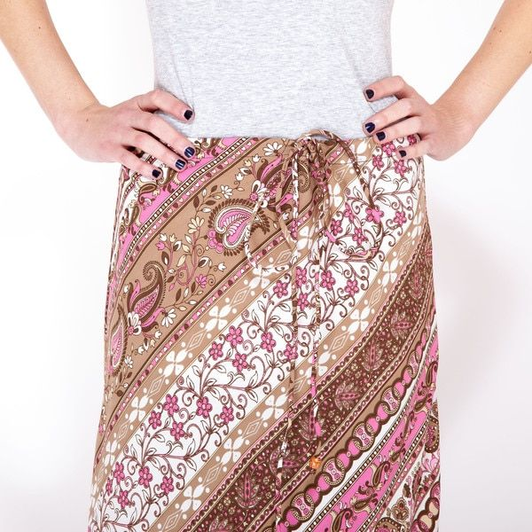 Handmade Sprintime Paisely Drawstring Pencil Skirt (India)