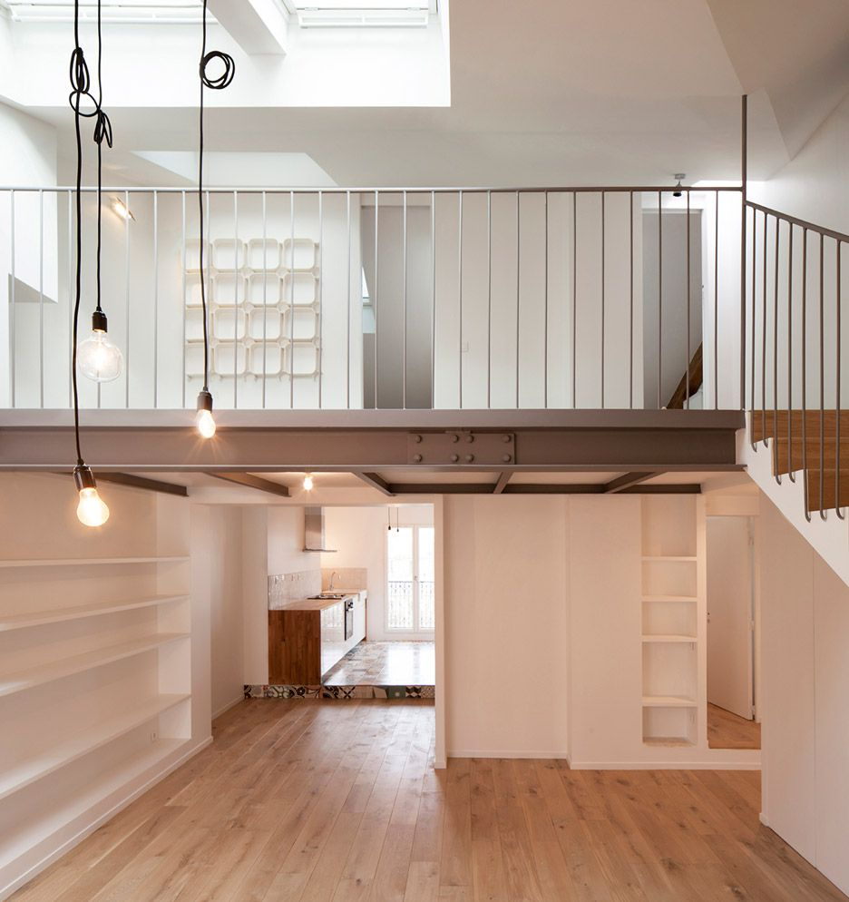 Cairos Architecture Adds Mezzanine To Paris Apartment Parisian - An old attic is transformed into a gorgeous apartment