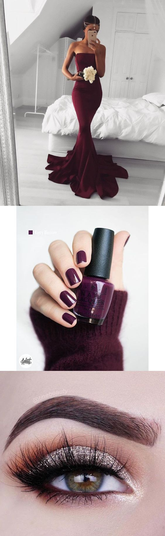 Prom Ideas Prom Nails Prom Makeup 2017 Burgundy Long Prom Dress