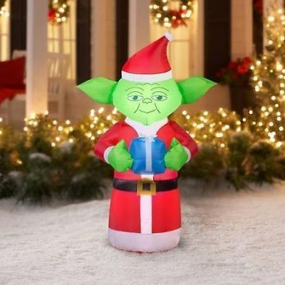 5 christmas yoda airblown inflatable star wars present decoration holiday yard - Star Wars Blow Up Christmas Decorations