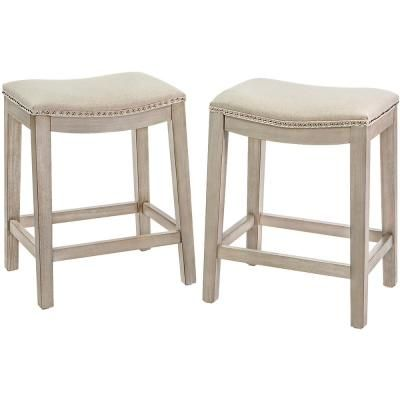 Barton Classic Isabel 24 In Beige Backless Counter Saddle Bar